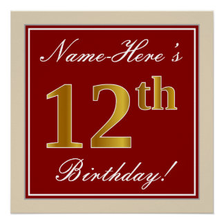 Elegant, Red, Faux Gold 12th Birthday; Custom Name Poster