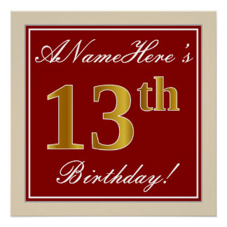 Elegant, Red, Faux Gold 13th Birthday; Custom Name Poster