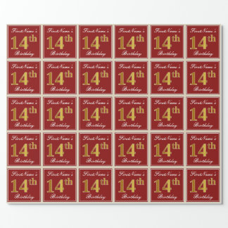 Elegant, Red, Faux Gold 14th Birthday; Custom Name Wrapping Paper