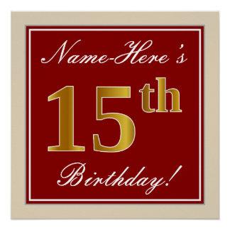 Elegant, Red, Faux Gold 15th Birthday; Custom Name Poster