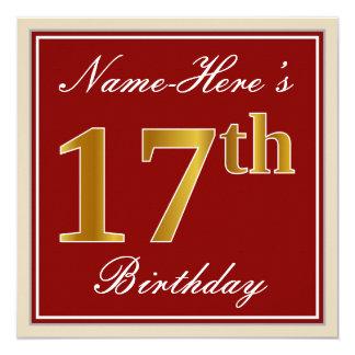 Elegant, Red, Faux Gold 17th Birthday; Custom Name Card