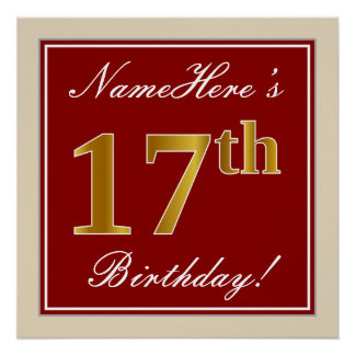 Elegant, Red, Faux Gold 17th Birthday; Custom Name Poster