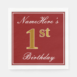 Elegant Red, Faux Gold 1st Birthday + Custom Name Paper Serviettes