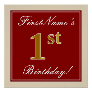 Elegant, Red, Faux Gold 1st Birthday + Custom Name Poster