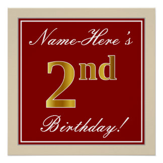 Elegant, Red, Faux Gold 2nd Birthday + Custom Name Poster