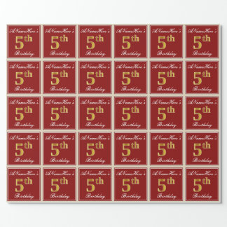 Elegant, Red, Faux Gold 5th Birthday + Custom Name Wrapping Paper