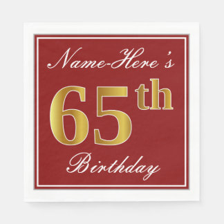 Elegant Red, Faux Gold 65th Birthday + Custom Name Disposable Serviettes