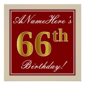Elegant, Red, Faux Gold 66th Birthday; Custom Name Poster