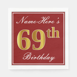 Elegant Red, Faux Gold 69th Birthday + Custom Name Disposable Napkin