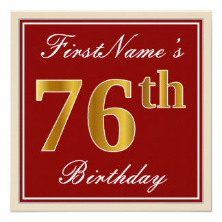 Elegant, Red, Faux Gold 76th Birthday; Custom Name Card