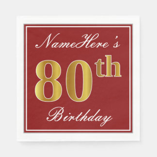 Elegant Red, Faux Gold 80th Birthday + Custom Name Disposable Serviettes