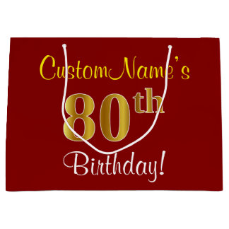 Elegant, Red, Faux Gold 80th Birthday; Custom Name Large Gift Bag