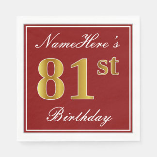 Elegant Red, Faux Gold 81st Birthday + Custom Name Disposable Serviettes