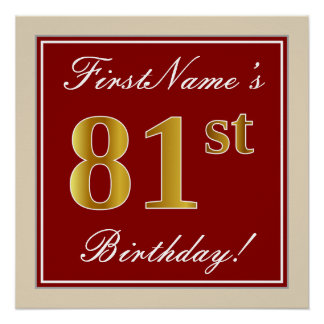 Elegant, Red, Faux Gold 81st Birthday; Custom Name Poster