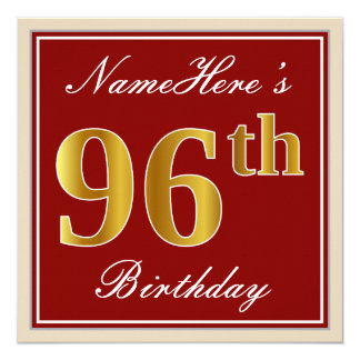 Elegant, Red, Faux Gold 96th Birthday; Custom Name Card