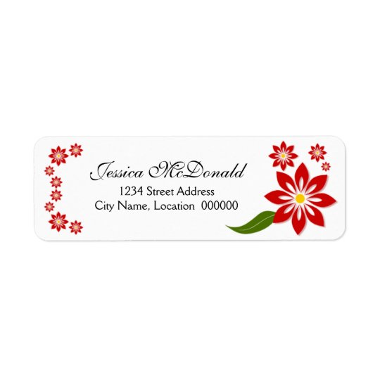 Elegant Red Floral Labels