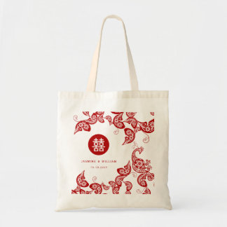 Elegant Red Floral Peacock Chinese Wedding Bag