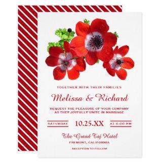 Elegant Red Flowers Anemone Wedding Invitation