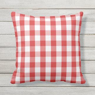 Elegant Red Gingham Pattern Outdoor Cushion