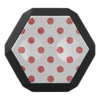 Elegant Red Glitter Polka Dots Pattern Black Bluetooth Speaker