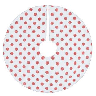 Elegant Red Glitter Polka Dots Pattern Brushed Polyester Tree Skirt