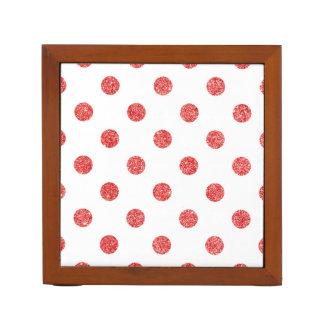 Elegant Red Glitter Polka Dots Pattern Desk Organiser