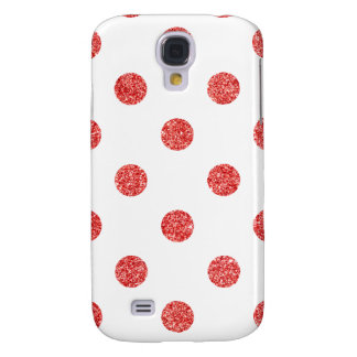 Elegant Red Glitter Polka Dots Pattern Galaxy S4 Covers