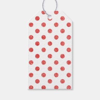 Elegant Red Glitter Polka Dots Pattern Gift Tags