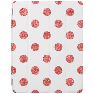 Elegant Red Glitter Polka Dots Pattern iPad Cover