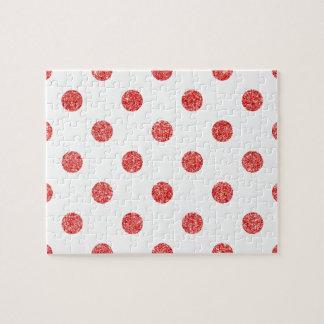 Elegant Red Glitter Polka Dots Pattern Jigsaw Puzzle