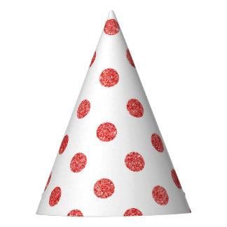 Elegant Red Glitter Polka Dots Pattern Party Hat