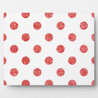 Elegant Red Glitter Polka Dots Pattern Plaque