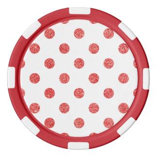 Elegant Red Glitter Polka Dots Pattern Poker Chips