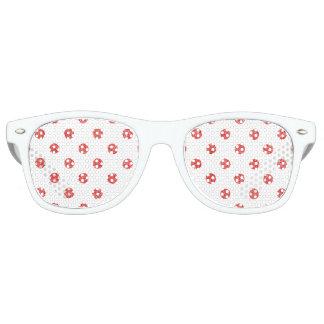 Elegant Red Glitter Polka Dots Pattern Retro Sunglasses