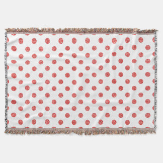 Elegant Red Glitter Polka Dots Pattern Throw Blanket