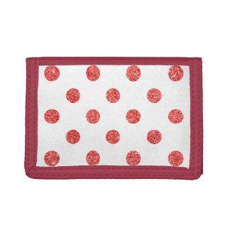 Elegant Red Glitter Polka Dots Pattern Tri-fold Wallets