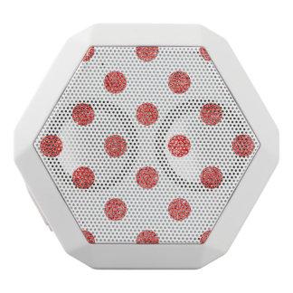 Elegant Red Glitter Polka Dots Pattern White Bluetooth Speaker