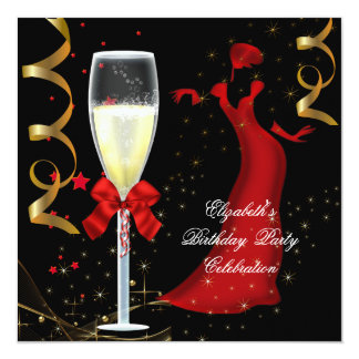 Elegant Red Gold Black Birthday Party Champagne 5.25x5.25 Square Paper Invitation Card