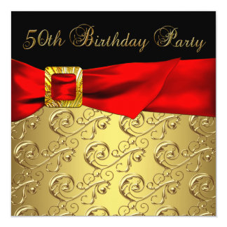 """Elegant Red Gold Black Womans 50th Birthday Party 5.25"""" Square Invitation Card"""