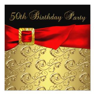 Elegant Red Gold Black Womans 50th Birthday Party Invites