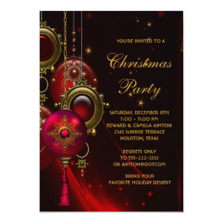 Elegant Red Gold Christmas Holiday Party 13 Cm X 18 Cm Invitation Card