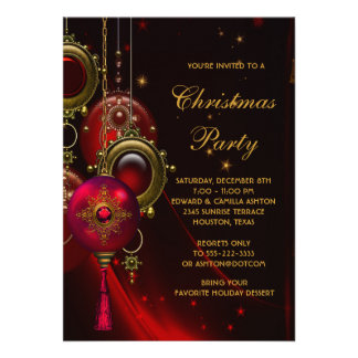Elegant Red Gold Christmas Holiday Party Custom Invites