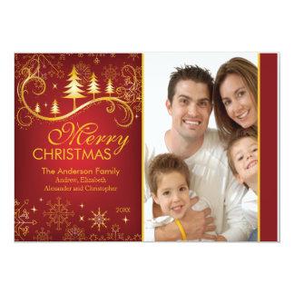 "Elegant Red Gold Christmas Tree Holiday Photo Card 5"" X 7"" Invitation Card"