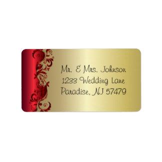 Elegant Red & Gold Florid Wedding Design Label