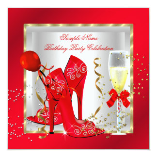 Elegant Red Gold Glitter White Birthday Party 5.25x5.25 Square Paper Invitation Card