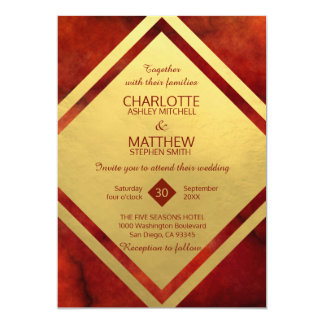 Elegant RED GOLD Marble Wedding Invitations