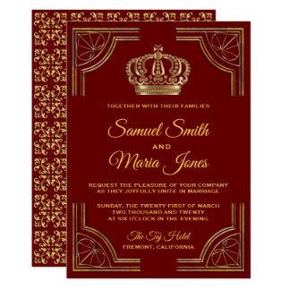 Elegant Red Gold Ornate Crown Wedding Invitation