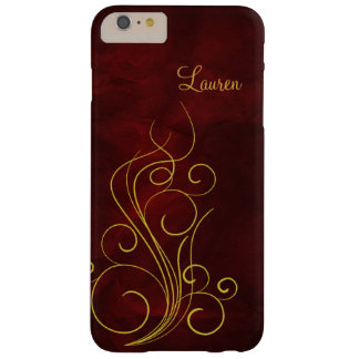 Elegant Red Gold Swirl Barely There iPhone 6 Plus Case