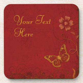 Elegant Red & Gold Vintage Butterflies Beverage Coasters