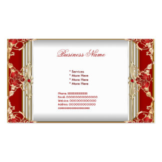 Elegant Red Gold White Womans Business Business Card